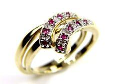 da donna 9 carati 9ct oro giallo doppio anello set con rosa &