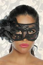 12632 Sexy Maschera del Mistero Venezia Nera in Pizzo Decorata con Fiori e Piume