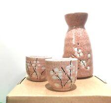 3pcs Japanese Ceramic Sake Set Cups Handmade Porcelain Traditional Underglaze