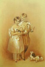 *Henry Bryan Ziegler (British 1793-1874) Mixed Media Portrait of Children w Pets
