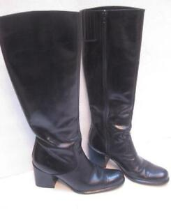 SESTO MEUCCI womens knee high boots BLACK leather shoes 6 1/2