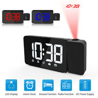 Digital Projection Alarm Clock Snooze LED LCD Display Backlight Electronic Home