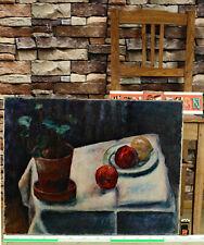 Ölgemälde antik Impressionist akademisch Stillleben expressiv Tisch Pflanze Obst