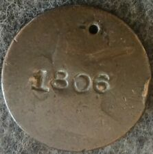 "US 1806 DRAPED BUST LARGE CENT - Early Copper Penny - COUNTER STAMPED ""1806"""