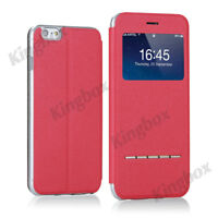 Smart Answer View Window Flip PU Leather Wallet Case Cover For iPhone & Samsung