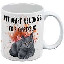 My Heart Belongs Chartreux Cat White All Over Coffee Mug