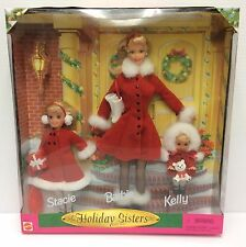 Brand New Holiday Christmas Sisters Barbie Kelly & Stacie Gift Set 1999