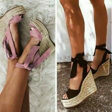Womens Platform Wedge Heel Sandals Ladies Lace Up Strappy Espadrilles Shoes Size