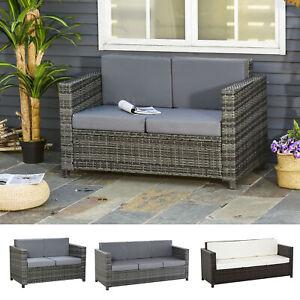 Poly-Rattan Sofa mit Kissen 2-/3-Sitzer Garten Loungesofa Metall Polyester
