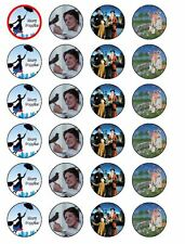 24 MARY POPPINS RICE/WAFER PRE CUT CUPCAKE TOPPERS