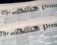 (30) 19TH CENTURY Post Civil War Philadelphia PA Pennsylvania 1868-69 Newspapers