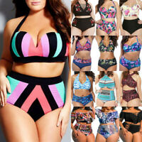 Plus Size Womens High Waisted Bikini Set Swimwear Swimsuit Bathing Suit Bathing