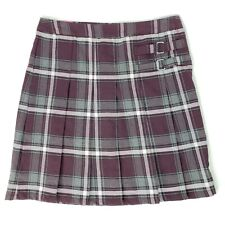 French Toast Girls 14 Pleated Scooter Skort Plaid Burgundy Scooter Uniform