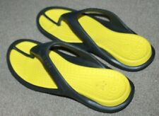MENS CROCS TOE POST SANDALS FLIP FLOPS BEACH UK 9 US 10 BLACK YELLOW