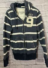 Vintage Men's Abercrombie & Fitch Muscle Striped Hoodie Sz Small  Blue & White