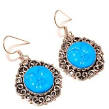 Carved Bone Moon Face silver plated Handmade Designer Astral Sculpture Earrings