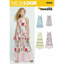 New Look Sewing Pattern 6466 SZ 8-16 Girls Tweens Dresses Maxi Boho 4 Styles