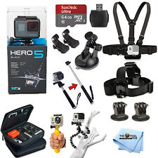 GoPro HERO5 Black Edition All In 1 PRO Accessory KIT Bundle w/ SanDisk 64GB