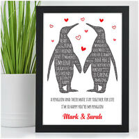 Personalised Valentines Day Gifts for Her Him Girlfriend Wife Penguin Couples