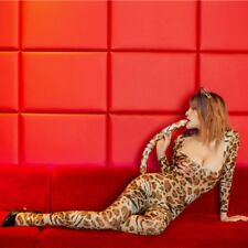 Women Ladies Sexy Leopard Catsuit Jumpsuit Bodycon Bodysuit Slim Fit Costume New