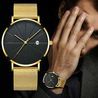Luxus Herren Gold Armbanduhr Edelstahl Analog Quarz Chronograph Uhr wasserdicht