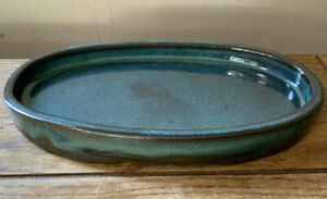 """8"""" Oval Shallow Glazed Bonsai Pot in Variegated Dark Turquoise. Better Quality."""