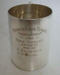 Antique WW1 1916 Maymyo Lawn Tennis Tournament Silver Plated Prize Pint Tankard