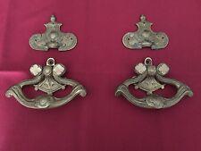 Antique Brass Hardware, 2 heavy Drawer Pulls & 2 Ornate Brass Appliques