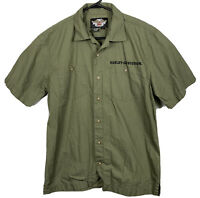 Harley Davidson Short Sleeve Button Down Shirt Military Mens Sz M Olive Green