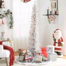 6' ft PRE-LIT SILVER TINSEL Pencil CHRISTMAS HANUKKAH WEDDING XMAS NEW YEAR Tree