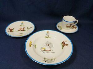 Rare Winnie the Pooh North Pole Childs Bowl Plate Cup Saucer Schumann Bavaria EX