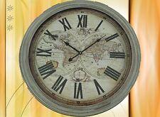 Wand Uhr Welt Karte Holz Geschenk in Antik Deko Vintage D= 60 cm Clock Eycatcher