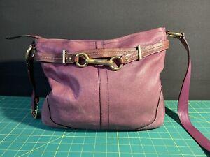 COACH Hamilton Purple Leather Hobo Shoulder Handbag Satchel Tote Purse 12464