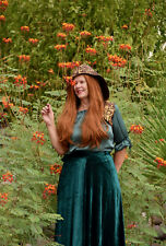 Medieval Maiden Renaissance Peasant Velvet Skirt Top Hood Sz XL Halloween Ren