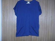 ladies size (m) solid navy basic v-neck scrub top