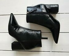 Topshop Black Textured Patent Leather Zip Up Chunky Boots, Size UK 6 New