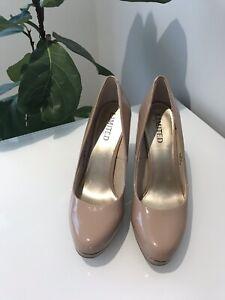 Autograph: Womens Court Patent Shoes Beige Platform Heel Size 37 / AU 6