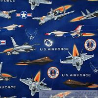 BonEful Fabric FQ Cotton Quilt Navy Blue Red White USA US Air Force Airplane Jet