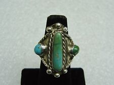 Vintage OLD PAWN Route 66 Sterling Silver Ring W/ Turquoise Stones As Is N261-K