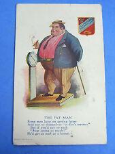 Comic Postcard 1910s Penny Arcade Weighing Machine - Fat Man LIMERICK Theme
