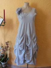 BORIS INDUSTRIES Kleid Raffungen Blume 40 42 (2) NEU! weiß/Streifen LAGENLOOK
