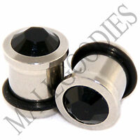 P007 Surgical Steel with Solid Black CZ Crystal Gem Ear Plugs 00 Gauge 00G 10mm