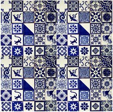 "100 Mexican Talavera Tile 4x4"" Assorted Blue & White Designs"
