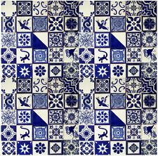 "100 MEXICAN TALAVERA  TILE 4x4""  ASSORTED BLUE & WHITE DESIGNS"
