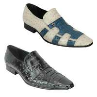 Mens 2 Tone Polished Real Leather Snakeskin Print Slip on Dress Party Shoes