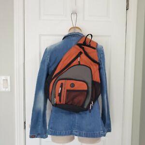 L.L. Bean Orange Rip Stop Medium Size Sling Shoulder Back Pack Hiking Bag