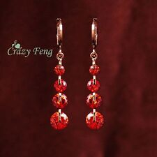 Ladies 18K Gold Plated Long RED CZ Crystal Long Drop Tassel Earrings Jewelry UK