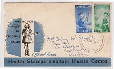 (OW-59)1958 NZ FDC air mail 2set stamps health used (tone spots& torn corner)(G)