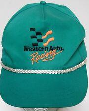 Vtg 1990s WESTERN AUTO Racing SUPPLY STORE ADVERTISING Snapback Trucker Hat TEAL
