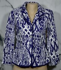 COLDWATER CREEK Blue White Patterned Shaped Jacket Blazer 4 Unlined 100% Cotton